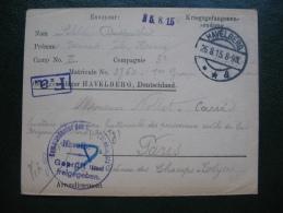 Courrier Prisonnier De Guerre 14-18 En Franchise Camp De Havelberg Allemagne , Lager Havelberg Deutschland - Marcophilie (Lettres)