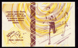 LITHUANIA OLYMPIC REGIONAL BANKNOTE RUNNERS 10 CENTAURU 1991 Pick NL Unc - Lithuania