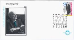 Nederland Netherlands 1986 FDC 100th Birthday Willem Drees, Dutch Politician - FDC