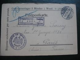 Courrier Prisonnier De Guerre 14-18 En Franchise Camp De Minden Allemagne Minden Deutschland - Storia Postale