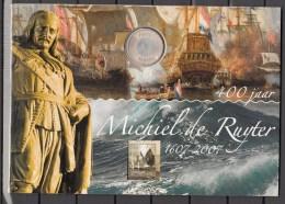 Nederland Netherlands 2007,map With 5 Euro Coin( Silver),Michiel De Ruijter 1607-2007+stampblock(C094) - [ 8] Monedas En Oro Y Plata