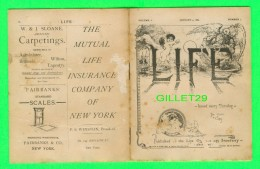OLD BOOK - LIFE, VOLUME 1, NUMBER 1, JANUARY 4, 1883 - 16 PAGES - PUBLICATIONS OF HENRY HOLT & CO - - Livres Anciens