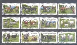 France Autoadhésifs Oblitérés N°1096/1107 (Série Complète : Les Chèvres De Nos Régions) (cachet Rond)