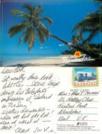 Beach Scene, Barbados Postcard Posted 1997 Stamp - Barbados