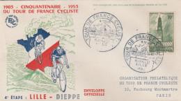 FRANCE  THEME CYCLISME  ENVELOPPE OBLITEREE  TOUR DE FRANCE 4è ETAPE LLLE 6 JUILLET 1953 - Wielrennen
