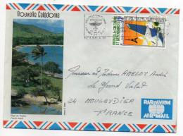 Nlle Calédonie-1986-tp 30° Anniv Vol Paris-Nouméa Seul Sur Lettre  Illustrée Plage De Touho - Briefe U. Dokumente
