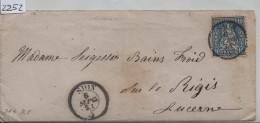 1865 Sitzende Helvetia/Helvétie Assise 31/23 - Stempel: Sion Pour Lucerne Via Lausanne 6. Sep. 65 - 1862-1881 Sitted Helvetia (perforates)