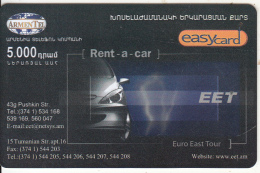 ARMENIA - EET Rent A Car, ArmenTel Prepaid Card 5000 AMD, Tirage 10100, Exp.date 30/10/06, Mint