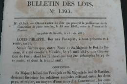 Bulletin De Lois - Convention De Poste Entre La France Et La Baviere - 15 Mai 1847 - 23 Pages - 1801-1848: Precursors XIX