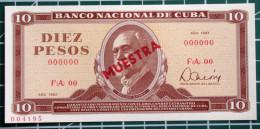 Cuba MUESTRA (SPECIMEN) 1983, Billete De DIEZ PESOS, Gem-UNC. - Cuba