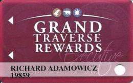 Grand Traverse Resort & Casinos - Michigan, USA - Slot Card - Reverse Logo Centered Over Split Text - Casino Cards
