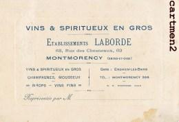 MONTMORENCY ETABLISSEMENTS LABORDE 63 RUE CHESNEAUX CARTE DE VISITE - Visiting Cards