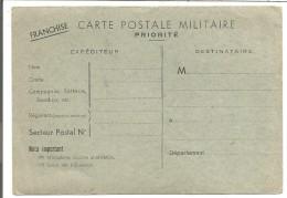 CARTE EN FRANCHISE VIERGE - Marcophilie (Lettres)