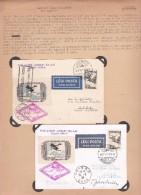 """2 Cartes Par Avion """"GERLE"""" HA-AAI  13"""" Piloté Par Bisits Et Bauhidy Cachet Rose Bilingue Vers Roma Et Une Vers Oran 1933"""
