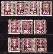 DANZIG Porto 1921 - MiNr: 1-14 Lot 10x   * / MLH - Danzig