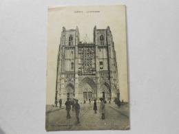 CPA 44 NANTES -  La Cathédrale , Chantier De Restauration Vitrail échafaudage Au Centre - Correspondance Militaire FM - Nantes