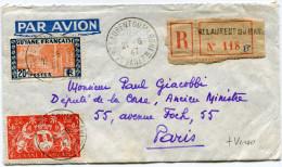GUYANE LETTRE RECOMMANDEE PAR AVION AVEC AFFR. COMPLEMENTAIRE AU VERSO DEPART ST LAURENT DU MARONI 21-6-47 POUR PARIS - Guyane Française (1886-1949)