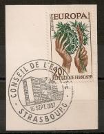Strasbourg Alsace, Bas Rhin. Conseil De L'Europe Sur Timbre EUROPA. 1957. - Marcophilie (Timbres Détachés)