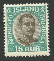 Iceland, 15 A. 1920, Sc # O44, Mi # 37, MNH. - Service