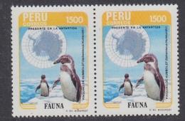 Peru 1985 Antarctica / Penguin 1v Pair ** Mnh (32614T) - Peru