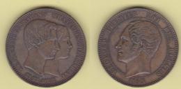 Belgium Belgio 10 Centimes 1853 Belgique Marriage Data Grande - 1831-1865: Léopold I