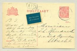 """Nederland - 5 Cent Bontkraag Briefkaart Met """"Bestellen Op Zondag"""" Van Helmond Naar Utrecht - Postwaardestukken"""