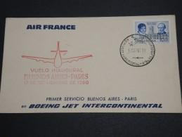 ARGENTINE - Enveloppe Et Oblitération 1 Er Vol En 1960 Buenos Aires / Paris - A Voir - L  4043 - Argentinien