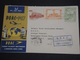 PEROU - Enveloppe 1 Er Vol Lima / Londres En 1961 - A Voir - L  4046 - Peru
