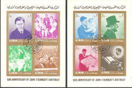 Ajman 1967  Mi# Block 11-12 B Used - Imperf. - 50th Birthday Of John F. Kennedy - Adschman