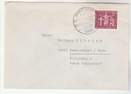 1962 Junkesdorf GERMANY COVER  CATHOLIC DAY Stamps  EVENT Pmk EUROPEAN FLAG Deutsche Belgische Freundschaft,  Religion - Christianity