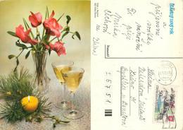 Flowers, Czech Republic Postcard Posted 1991 Stamp - Czech Republic