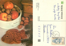 Christmas, Czech Republic Postcard Posted 1985 Stamp - Czech Republic