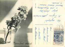 Flowers, Czech Republic RP Postcard Posted 1966 Stamp - Czech Republic