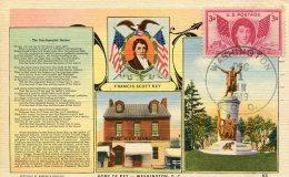 13859 U.s.a.  Maximum  1949  Stamp 3c.  U.s.a. Flag  Flagge Drapeau And Immne National, Hymne, Anthem