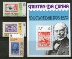 Tristan Da Cunha 1979 Sir Rowland Hill Stamp On Stamp 3v+M/s Sc 260-3 MNH # 13099