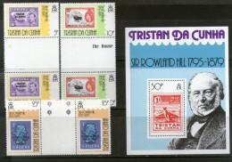 Tristan Da Cunha 1979 Sir Rowland Hill Stamp On Stamp Gutter Pair 3v+M/s Sc 260-3 MNH # 13083