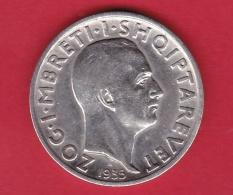 Albanie - 1 Franc Argent 1935 - Albania