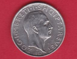Albanie - 1 Franc Argent 1937 - Albanie