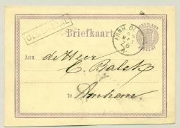 Nederland - 1876 - KR Treinstempel Arnh.Oldenz: En Halte Oldenzaal In Kader Op Briefkaart Naar Arnhem - Marcofilia