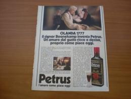 Advertising Pubblicità PETRUS L'AMARO COME PIACE OGGI   - 1982 - Alcolici