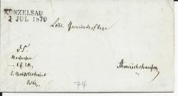 ALLEMAGNE - 1870 - LETTRE De KÜNZELSAU (BADEN WÜRTT.) - Deutschland