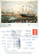 Joseph Walter, Launch Of SS Great Britain, Art Painting Postcard Posted 2001 Stamp - Pittura & Quadri
