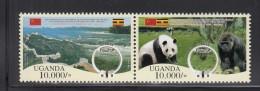 2012 Uganda Links With China Panda Gorilla Complete Set Of 2 And Souvenir Sheet  MNH - Uganda (1962-...)