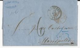 ALLEMAGNE - 1863 - LETTRE De LEIPZIG Pour MONTPELLIER (HERAULT) Avec ENTREE PRUSSE Par FORBACH AMBULANT B - Deutschland