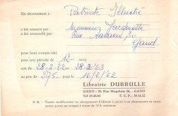 Factuur Facture - Rekening Nota - Librairie Dubrulle  - Gand Gent 1962 - Imprimerie & Papeterie