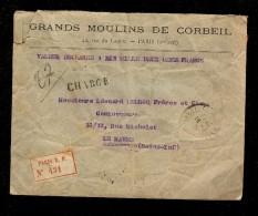 ENVELOPPE CHARGE , Grands Moulins De CORBEIL PARIS , R.P N° 431 Tampons De Cire GMC - 1877-1920: Période Semi Moderne