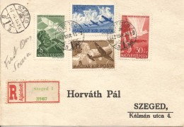 HUNGARY 1942 AIRPLANES SET REGISTERED FDC