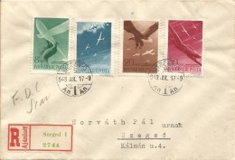 HUNGARY 1943 AIRPLANES & GLIDERS SET REGISTERED FDC