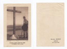 """"""" Quand Je Serai élevé De Terre """", Image Pieuse Souvenir De Michel Baron, Prêtre, 29/06/1951, Scout, Scoutisme - Santini"""