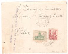 Frontal De Carta Con Censura Militar Oliva De La Frontera Y Con Viñeta De Badajoz. - 1931-50 Brieven